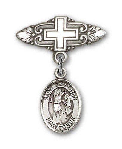 Icecarats Créatrice De Bijoux En Argent Sterling St. Broche De Badge Charme Sebastian Avec Croix 1 X 3/4