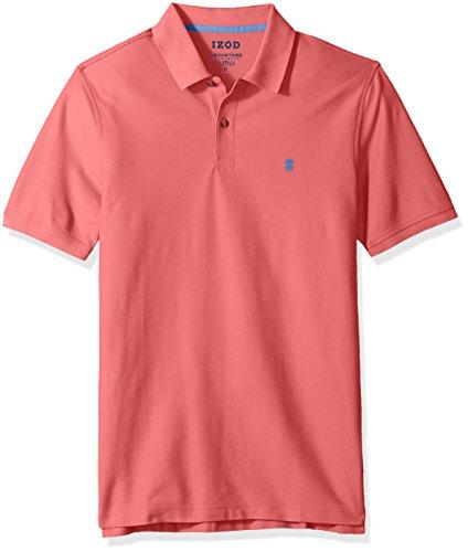 Short Stripe Fine (IZOD Men's Regular Fit Advantage Performance Solid Polo Shirt, Rose of Sharon, XX-Large)