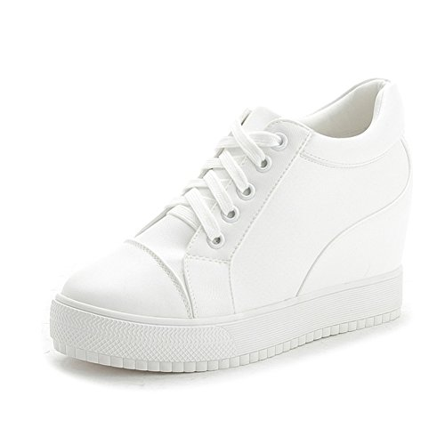 Womens Casual Wedge Platform Sneakers Lace Up Verborgen Hak Mode Sportschoenen Wit