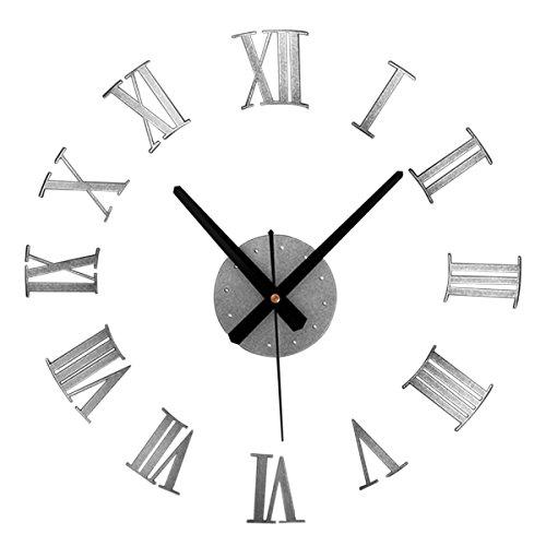 JustNile DIY 3D Wall Clock Display - Metal Silver Color Roman - Roman Numeral Clock Silver