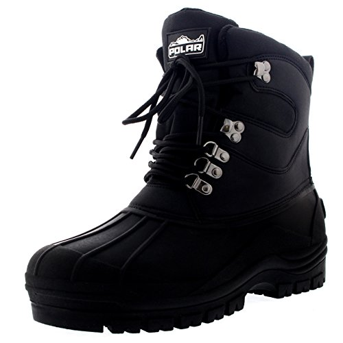 Mens Snow Waterproof Duck Hiking Bean Hiker Walking Short Ankle Boots - Black - US11/EU44 - YC0439