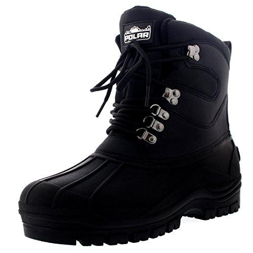 Mens Snow Waterproof Duck Hiking Bean Hiker Walking Short Ankle Boots - Black - US12/EU45 - YC0439