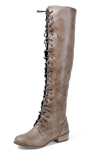 AgeeMi Shoes Damen Langschaft Stiefel Schnüren Stiefel Damen Flache Boots Braun