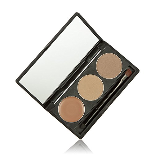 (Professional Kit Eye Shadow Eye Brow Makeup 2 Color Eyebrow Powder + Eyebrow Cream + Brushs 2)