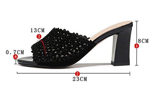 A épais taille poisson coréenne mode des avec hauts sandales Couleur à et chaussons d'été mode chaussures pantoufles A des nbsp; plage de Sandales 39 de chaussures plates de porter talons Sandales qIOwAq