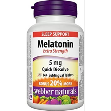 Amazon.com: Webber Naturals Melatonina disolver fácil, 5 mg ...