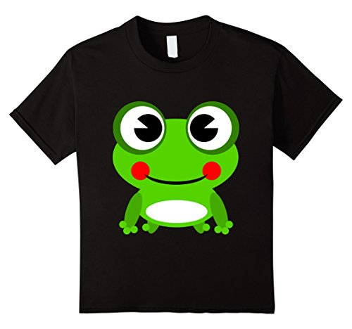 Kids Funny Green Frog Cartoon T-shirt Cute Pet Animal Tee 12 - Black Design T-shirt Frog