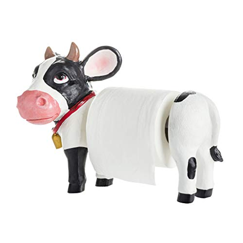 (MMDDP Toilet Paper Holders Countertop Paper Towel Holder, Resin Kitchen Roll Holder Stand, Home Decor, Milk Cow Design (Size : 39×19cm))