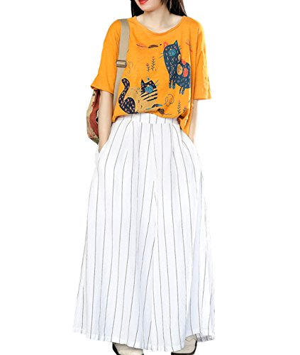 YESNO PS1 Women Casual Loose Cropped Pants Wide Leg Striped 100% Linen 100% Cotton Lined/Pockets