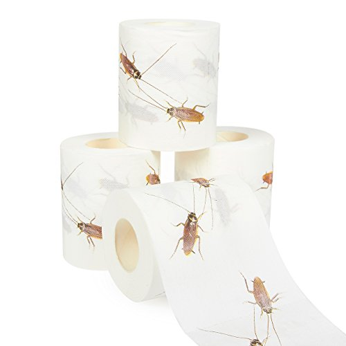 4 Rolls Gag Gift Novelty Toilet Paper - Cockroach Printed Bath Tissue Joke Toilet Paper for Funny Gag Gifts, 250 Sheets per Roll