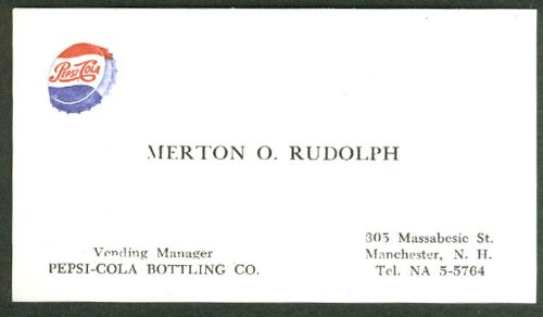 Amazon pepsi cola bottling co manchester nh merton o rudolph pepsi cola bottling co manchester nh merton o rudolph business card 1950s colourmoves