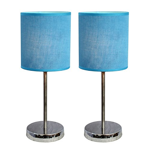 2 Light Set (Simple Designs LT2007-BLU-2PK Chrome Mini Basic Table Lamp 2 Pack Set with Fabric Shades, Blue)