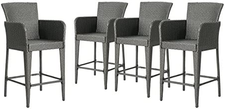 Christopher Knight Home Alisa Outdoor 38 Inch Wicker Barstool Set of 4 , Grey