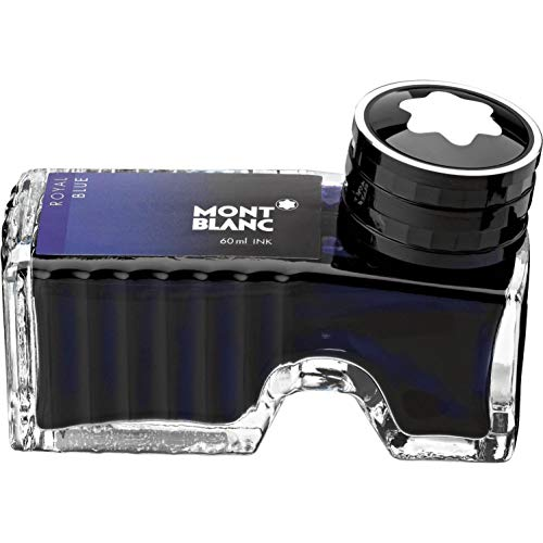 Montblanc Ink Bottle Royal Blue 105192 - Premium-Quality Refill Ink in Deep Blue for Fountain Pens, Quills, and Calligraphy Pens - 60ml Inkwell
