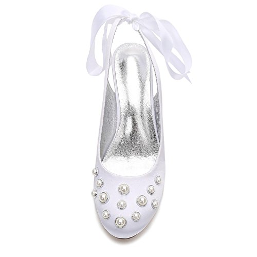 L@YC Zapatos de Boda Para Mujer E17061-20 Satén y Perla Zapatos de Novia de Verano de Tacón Alto (a Medida) Blue