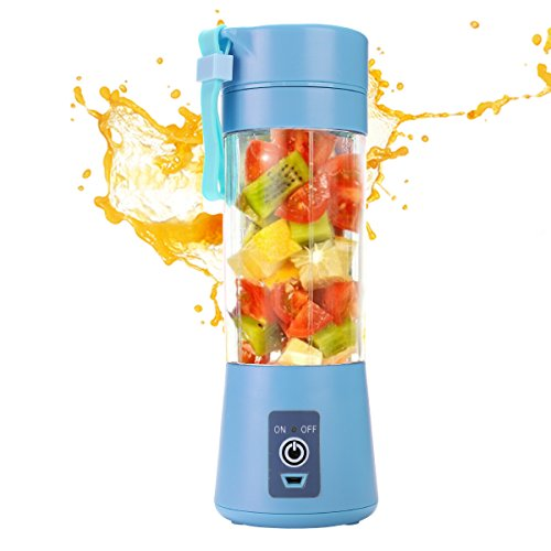AUSXINX Portable USB Juice Blender, Rechargeable travel Juicer Blender, Household Fruit Mixer with Six Blades in 3D, 380ml Fruit Mixing with USB Cable. (Blue)
