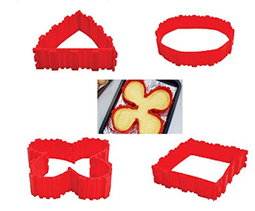 SuperStores 4pcs/set Magic Snake Silicone Cake Mold Baking Flower Heart Round Shape Mold All Kinds of Shapes You Like, Chocolate cake, Chocolate candy, loaf cake, Chocolate (Airbrush Makeup Near Me)