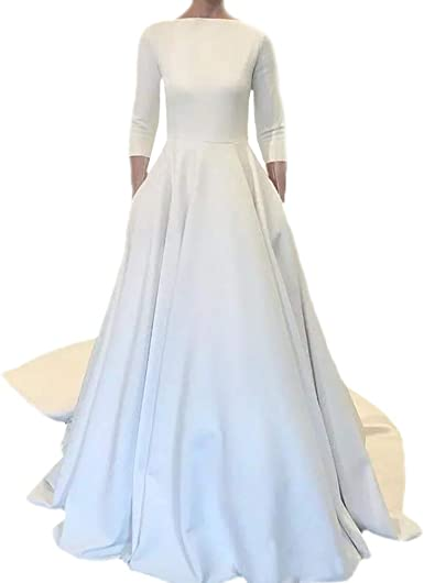 Amazon Com Dimei Wedding Dresses Long Sleeves Boat Neck Button Back Crepe Satin Wedding Gown Clothing
