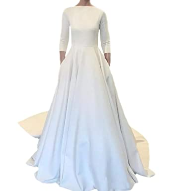 2957324656110 Dimei A line Modest Wedding Dresses Long Sleeves Boat Neck Button Back Crepe  Satin Wedding Gown at Amazon Women's Clothing store: