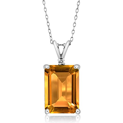 8.22 Ct Emerald Cut Yellow Citrine Gemstone Birthstone and White Diamond 925 Sterling Silver Pendant (14X10MM Citrine with 18 Inch Silver (Diamond 925 Sterling Silver Pendant)