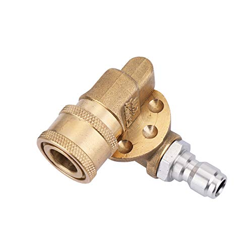 Challco Quick Connecting Pivoting Coupler 180 Degree with 5 Angles for Pressure Washer Spray Nozzle, Cleaning Hard to Reach Area Max 4500 PSI 1/4 Inch - Nozzle Angle