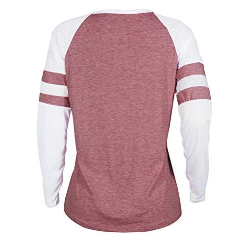 Blouse Tops Dames Impression T Chat Rose Shirt Femmes 2 Manches MORCHAN Longues wqg74z6