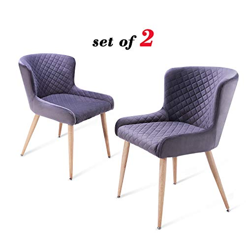 Nueve&Five Mid Century Accent Chair Set of 2 for Living Room, Upholstered Velvet Leisure Chairs with Tapered Steel Legs for Bedroom Reception Room Dining Room, Ash Gray