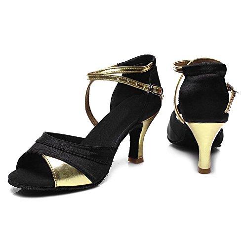 Satén Mujer Ballroom de ES SWDZM modelo estándar Tacón Zapatos de Gold 221 baile latino 7cm de baile Zapatos FxXPqdXv