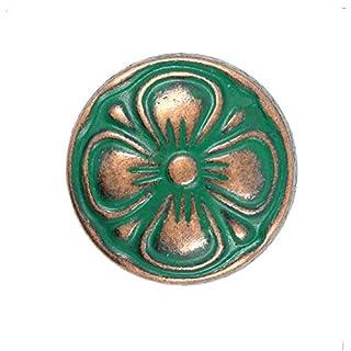 Bezelry 12 Pieces Green Cyan Antique Copper Clover Metal Shank Buttons. (15mm) (19/32 inch)