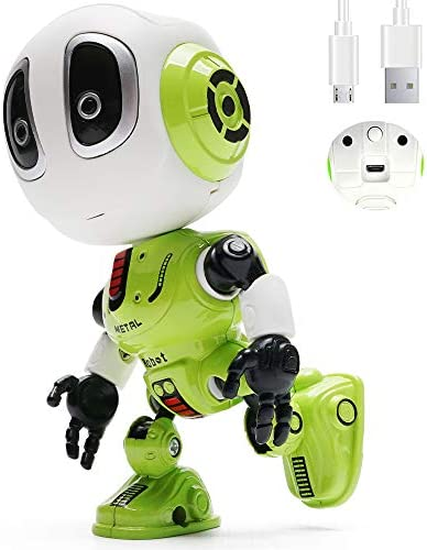 BEIWO [ Rechargeable  Talking Robot for Kids Repeats What You Say with Flexible Body Flashing Eyes, Metal Robotic Toys for Boys Girls (Green)
