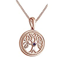 Tree of Life Pendant Necklace with Birthstone Gemstone 14k Gold Over Sterling Silver