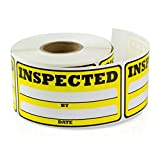 1.5 x 3 inch - Inspected by Date Special Handling Shipping Warehouse Inventory Control Pallet Yellow Stickers by Tuco Deals 2 Rolls (Yellow, 2 Rolls per Pack)