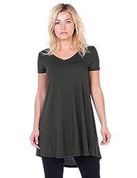 Popana Women's Tunic Tops for Leggings Short Sleeve Summer Shirt Made in USA 2X Olive
