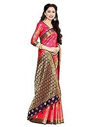 Fasherati Bollywood Sari Women's Art Silk Saree Kanjivaram Style Color: Strawberry