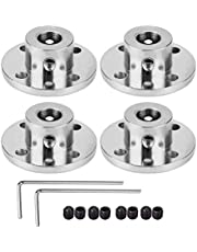 4 Pack 3/3.17/4/5/6/6.35/7/8/10/11/12mm Flange Coupling Connector, Rigid Guide Steel Model Coupler Accessory, Shaft Axis Fittings for DIY RC Model Motors-Silver.