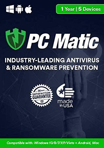 PC Matic | Antivirus& Ransomware Protection | 5 Devices | 1 Year | PC, Mac, Android [Download] [PC/Mac Online Code]