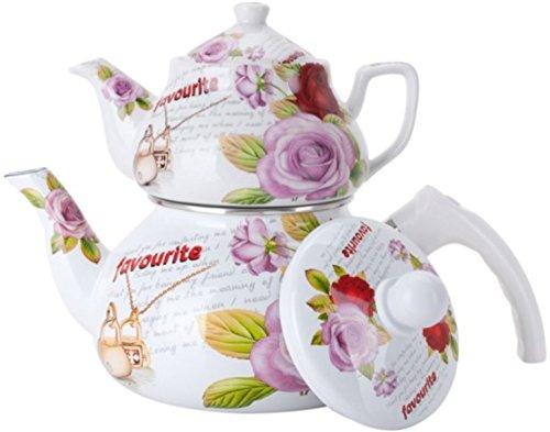 Double Tea Kettle Porcelain Teapot 2-Pc Set 0.852L Ceramic + 2Ltr Enamel Pot Samovar Turkish Style Flowers