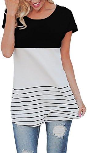cowear rayas color bloque de la mujer Volver encaje Tops Manga Corta T Camisas Blusas