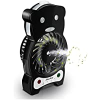 Ideashop Handheld Misting Fan Mini USB Fan Mini Desk Fan with Personal Cooling Mist Humidifier Rechargeable Battery 3 Speeds, 1 Led Light Portable Fan Outdoor Fan (Black)