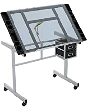 Glass Drafting Table, Adjustable Art & Craft Drawing Desk with 2 Storage Drawers & 4 Casters, Crafting Station for Drawing, Painting, Writing, Reading