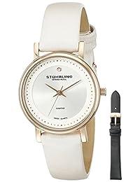 Stuhrling Original Women's 734LS2.SET.01 Classic Ascot Castorra Elite Swiss Quartz Genuine Diamond White Leather Additional Strap Watch Set