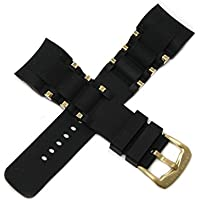 Swiss Legend 26MM Black Silicone Rubber Watch Strap Stainless Gold Buckle fits 47mm Commander Pro Watch