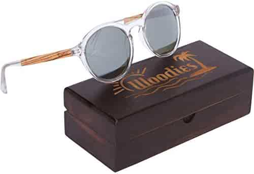c8e721ff1af WOODIES Clear Acetate Round Sunglasses with Polarized Silver Lens in Wood  Display Box