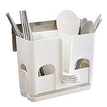Wecando Stick on Kitchen Utensils Holder Chopsticks Spoon Basket for Dishwashers Drill-Free Wall Mounted Hanging Rack Cookware Shelf Organizer
