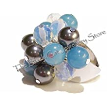 Gemstone & Grey Swarovski Pearl Handmade Cha Cha Ring - Faceted Opalite & Amazonite
