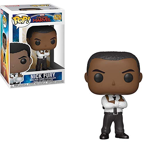 FunkoPOP Captain Marvel Nick Fury + Bundled with Pop Box Protector Case