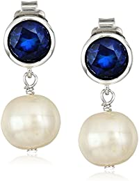 Sterling Silver Bezel Set Birthstone and Freshwater Cultured Pearl Drop Stud Earrings