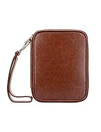 Portafolios de viaje RFID para pasaporte – seguro RFID soporte para pasaporte para hombres y mujeres, Accesorios de viaje y portadocumentos, portafolios antirrobo para tarjeta, pasaporte y más- Marrón