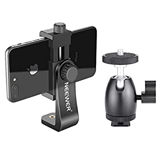Neewer Cellphone Holder Clip Desktop Tripod Mount with Mini Ball Head Hot Shoe Adapter for 14-inch and 18-inch Ring Light and iPhone, Samsung, Huawei Smartphone Within 1.9-3.9 inches Width