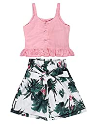 Toddler Kids Baby Girl Outfits Summer Two Piece Halter Tank Crop Top + Shorts Girls Casual Holiday Party Clothes Set